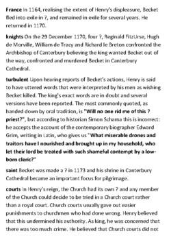 Thomas Becket Crossword