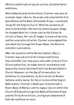 Thomas Cranmer Handout
