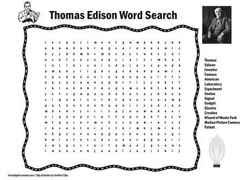 Thomas Edison Activity | Thomas Edison Word Search