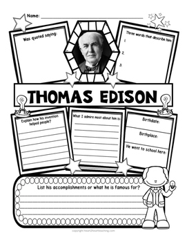 Thomas Edison Research Organizers for Famous Inventors Research Projects