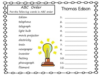 Thomas Edison A Brilliant Inventor ~ Time for Kids 29 pg. C.C. Activities