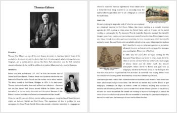 Thomas Edison - A Famous Scientist Reading
