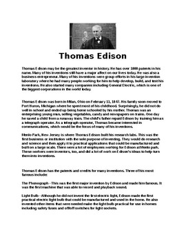 Thomas Edison Biography Article and Assignment Worksheet