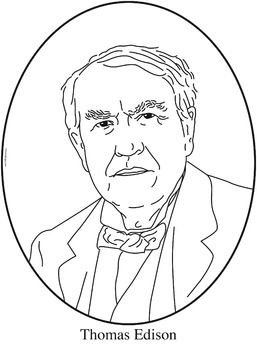 Thomas Edison Clip Art Coloring Page or MiniPoster by Cordial Clips
