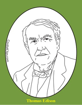 Thomas Edison Clip Art, Coloring Page, or Mini-Poster