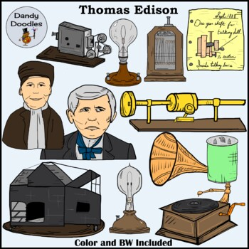 thomas edison clip art by dandy doodles by dandy doodles tpt rh teacherspayteachers com Thomas Edison Light Bulb thomas edison clipart black and white