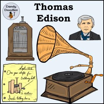 Thomas Edison Clip Art by Dandy Doodles
