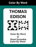 Thomas Edison - Color By Word & Color By Word Scramble Worksheets