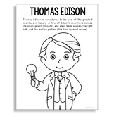 THOMAS EDISON Inventor Coloring Page Craft or Poster, STEM Technology History