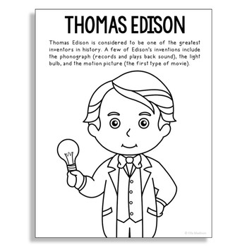 THOMAS EDISON Inventor Coloring Page Craft or Poster, STEM ...
