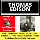 Thomas Edison Differentiated Reading Passage October 15.