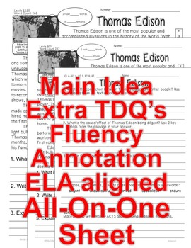 Thomas Edison FACTS Close Read 5 levels TDQ Annotation Fluency All-On-One Sheet