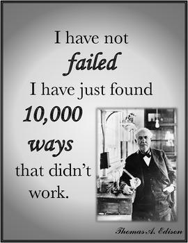 Thomas Edison FAILED Inspirational Quote