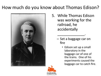 Thomas Edison Fun Facts Quiz and Powerpoint