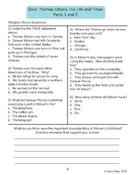 Thomas Edison Biography Informational Texts Activities