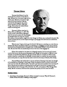 Thomas Edison - Informational Text Test Prep
