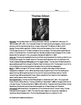 Thomas Edison - Review Article Lesson - History Info Facts Questions Activities
