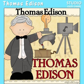Thomas Edison US History Science Color Clip Art  C. Seslar