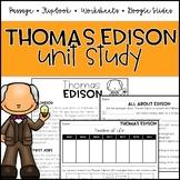 Thomas Edison Unit: Passage, Comprehension, and Flipbook