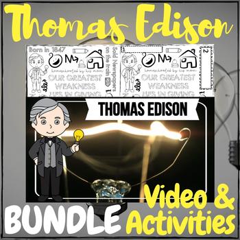Thomas Edison Video & Activities + Coloring Page BUNDLE!