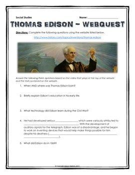 Thomas Edison - Webquest with Key (History.com)
