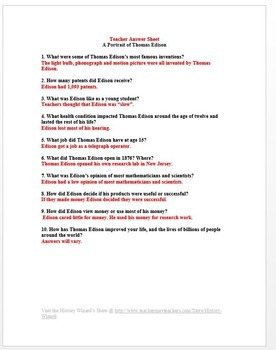 Thomas Edison and the Industrial Revolution Primary Source Worksheet