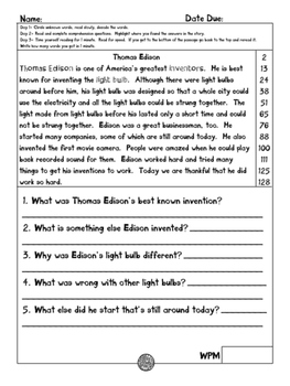 Thomas Edison fluency and comprehension leveled passage