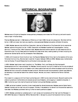 Thomas Hobbes Biography Article and (3) Assignments