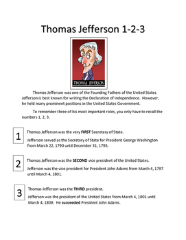 Thomas Jefferson 1-2-3