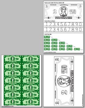 Thomas Jefferson Holiday $2 Dollars Bill Activity