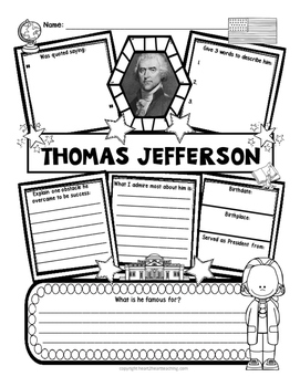 Thomas Jefferson Research Organizers for American Presidents Research Projects