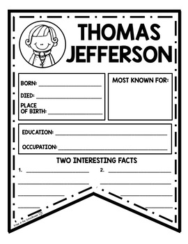 Thomas Jefferson Research Activity Sheets and Graphic Organizers