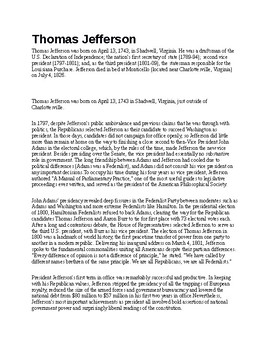 Thomas Jefferson Article and Assignment