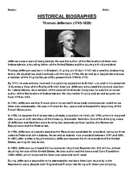 Thomas Jefferson Biography Article and (3) Assignments