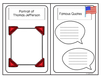 Thomas Jefferson Biography Mini Book Activity, Quote Posters, President's Day