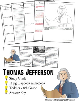 Thomas Jefferson Biography Report (K-8th)