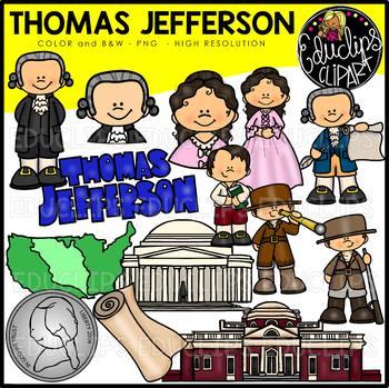 Thomas Jefferson Clip Art Bundle {Educlips Clipart}