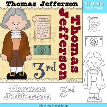 Thomas Jefferson color clip art and line drawings clip art
