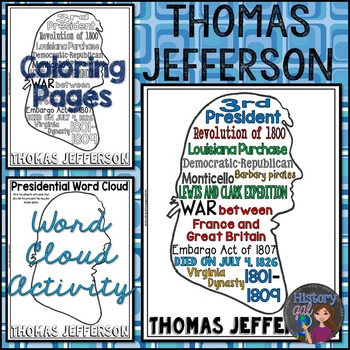 Thomas Jefferson Coloring Page and Word Cloud Activity