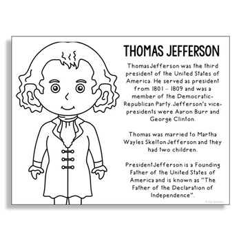 President Thomas Jefferson Coloring Page Craft or Poster with Mini Biography