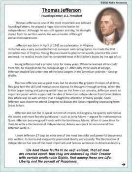 Thomas Jefferson Reading Comprehension