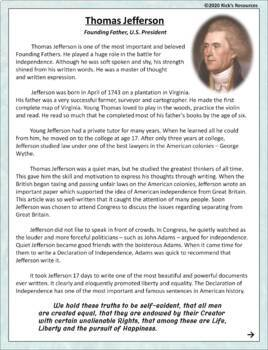 Thomas Jefferson Reading Comprehension