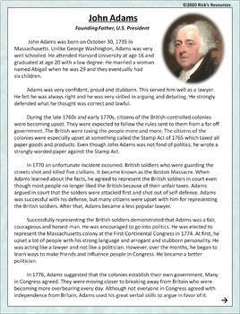 John Adams Reading Comprehension By Rick S Resources Tpt