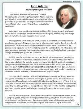 John Adams Reading Comprehension