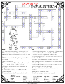 Thomas Jefferson Crossword Comprehension Puzzle