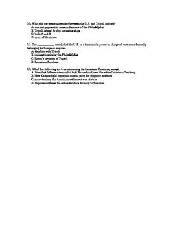 U.S. History Notes/Quiz:Jefferson Deals w/ Tripolitan Pirates/Louisiana Purchase