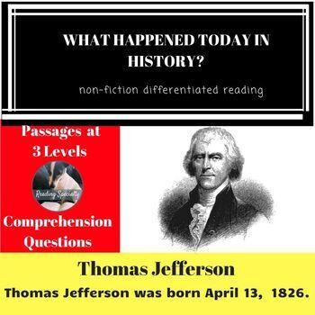 Thomas Jefferson Differentiated Reading Passage April 13