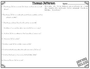 Thomas Jefferson Differentiated Reading Passages & Questions