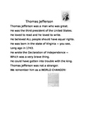 Thomas Jefferson First Grade Poem and Assessment
