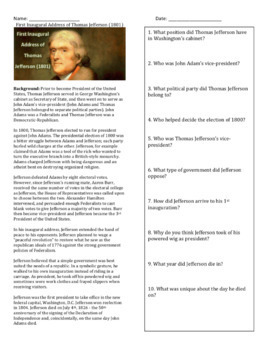 Thomas Jefferson First Inaugural Address - Primary Source Activity